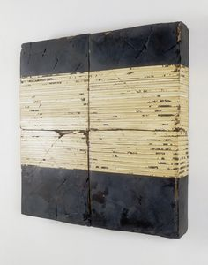 "Hiroyuki Hamada #23 1996-1999 33"" x 33"" x 4.5"" Materials: burlap, enamel, plaster, tar, wax and wood"