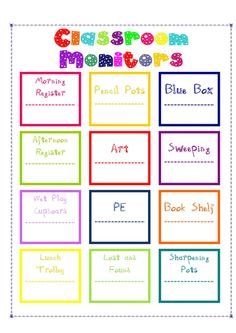 Available on my blog - classroom monitor poster