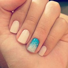 Pale nails with one accent nail ombre