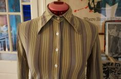 vintage 70s striped button shirt green brown mod skinhead girl 1970s