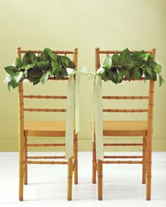 """Plan a Summer Soiree ~Lemon leaves are lush, freshly scented, and a total bargain (or free if you happen to have a tree in your backyard). Wrap their stems in floral wire, and twist each around a separate piece of wire that's about 5 inches longer than the width of your chairs. Bend the completed """"branches"""" slightly to give them an organic feel, wire each to your seats, and finish with a bow"""