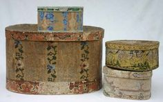 "4 antique wallpaper band boxes - 22 1/2"", 11"", 10 1/4"" & 10"" wide"