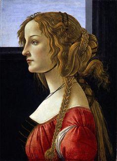 Sandro Botticelli. 'Profile Portrait of a Young Lady (Simonetta Vespucci?)' c 1476, Staatliche Museen, Berlin, Germany