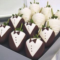 Tuxedo!! Chocolate Covered Strawberries for sweets & treats wedding table inspiration www.MadamPaloozaEmporium.com www.facebook.com/MadamPalooza