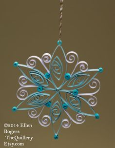 Handmade Quilled White and Turquoise Snowflake by TheQuillery Arte Quilling, Paper Quilling Patterns, Quilled Paper Art, Quilling Paper Craft, Quilling Designs, Paper Beads, Quilling Christmas, Christmas Snowflakes, Christmas Crafts