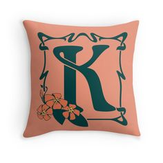 Fancy art nouveau letter K, flower