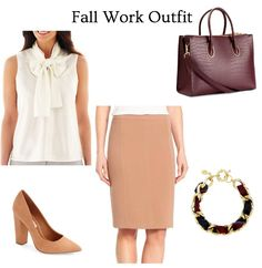 JavaScript is currently disabled in this browser. Reactivate it to view this content.       Bow Blouse  // Camel Pencil Skirt  // Camel S...