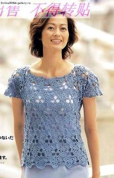 Blue Flower Top free crochet graph pattern