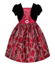 Take a look at this Black Velvet & Red Bow Dress - Girls on zulily today!