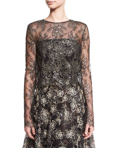 OSCAR DE LA RENTA Eve Floral-Embroidered Bolero, Black/Gold. #oscardelarenta #cloth #