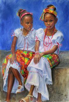 Nisi and Kejeem Jonathan guy gladding Black Love Art, Black Girl Art, Art Girl, Jamaican Art, Arte Black, African American Artwork, African Art Paintings, Haitian Art, Black Art Pictures