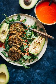 Herby Vegan Falafel w/ Smoky Red Pepper Dip | Well and Full | #healthy #recipe