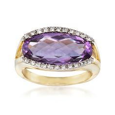 6.50 Carat Amethyst and .15 ct. t.w. Diamond Ring in 18kt Gold Over Sterling