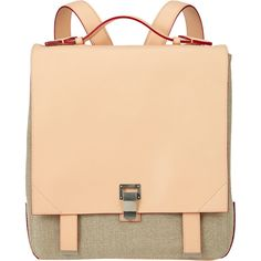 Proenza Schouler natural-colored leather and linen PS Large Backpack. Side gussets with snap buttons; metal-tipped pull-tab straps; slip pocket beneath flap; a…