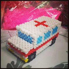3D Ambulance perler beads by shirley117