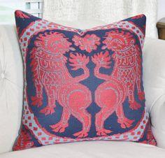Blue Chinoiserie Pillow Cover - Robert Allen Navy Blazer Pillow - Red and Blue Asian Medallion Pillow - Robert Allen