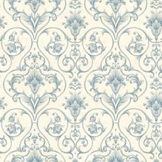 Wallpaper in Catherine's submissive bedroom at Jayden's   Blue and Cream Victorian Scroll-
