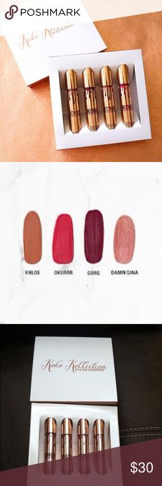 SALE! Koko collection Kylie Jenner lipsticks new!! Brand new never used!!!! 100% new in box. Authentic! USE THE OFFER BUTTON FOR OFFERS PLEASE!!!! Comes with all 4 full size lipsticks!! Limited edition! Hurry before it's gone!!!! I accept offers!! Bundle and save Kylie Cosmetics Makeup Lipstick