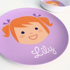 Personalized Children's Plate - Girl or Boy - Etsy Kids Plates, Plates And Bowls, Contemporary Dinnerware, Personalized Plates, Custom Plates, Little Girl Gifts, Cute Gifts, Craft Gifts, Bowl Set