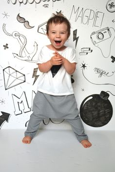 Cute! Kids Trousers – Black&White Pantalon – a unique product by MagpieCreate