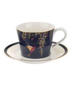 Navy Chelsea Tea Cup & Saucer #zulily #zulilyfinds