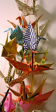 Paper cranes..The Mama-sans would make chains of these to hang on the soldier's beds (106th Gen Hosp.Yokohama, 1967-69).