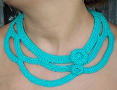Turquoise crochet necklace  by agatsknitting on Etsy.  Clasp is a fancy, but small , button
