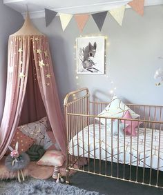 Stunning space by @alicia_and_hudson featuring our Numero 74 canopy and star garland •••www.growingfootprints.com.au•••