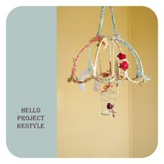 This would be cute to do with an upcycled lampshade or umbrealla frame.