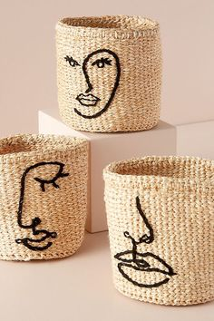 Decorative Storage, Punch Needle, Hand Embroidery, Diy And Crafts, Jute Crafts, Hand Weaving, Decoration, Basket, Crafty