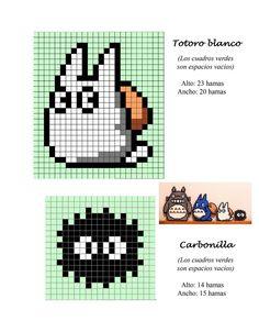 Totoro hama perler beads pattern - makes a good cross stitch pattern too Hama Beads Design, Perler Bead Designs, Hama Beads Patterns, Perler Bead Art, Perler Beads, Beading Patterns, Embroidery Patterns, Hama Beads Kawaii, Mini Hama Beads