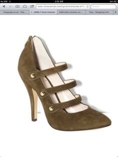 Velvet army green heels