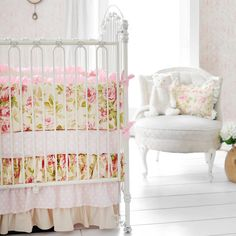 Vintage florals. New Arrivals Crib Bedding In Full Bloom #projectnursery  #bloom
