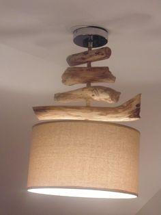 Lustre plafonnier en bois flotté création unique double