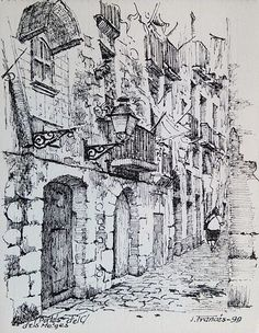 Portals del carrer dels Metges, Barcelona. Joaquim Francés Urban Sketching, Sketches, Ink Art, Pen Art, Art Sketchbook, Art Drawings, India Ink, Art Sketches, Ink Sketch