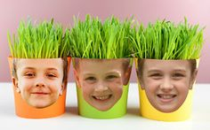 """Add photos to a flower pot, plant grass and watch the """"hair"""" grow with this springtime project. Print your faces at Kodak Picture Kiosk. Fall Preschool, Preschool Crafts, Spring Projects, Spring Crafts, Seed Crafts For Kids, Mothers Day Plants, Flower Pot People, Science Experiments For Preschoolers, Growing Grass"""