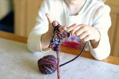 tute- finger knitted headband (child's handwork)