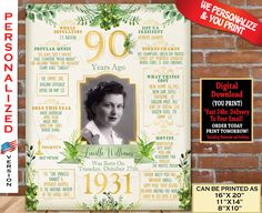 90th Birthday Poster, 1931 Birthday Party Decoration Sign, 90th Birthday Board, 90th Gift Sign- Back in Year 1931 Digital Personalized File 90th Birthday Parties, Birthday Party Design, Great Birthday Gifts, Birthday Gifts For Women, Birthday Fun, Birthday Party Decorations, Birthday Signs, Birthday Crafts, Birthday Ideas