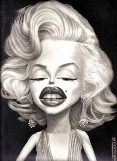 Marilyn Monroe Funny Caricatures, Celebrity Caricatures, Celebrity Drawings, Facial Proportions, Marilyn Monroe Quotes, Kodak Moment, Making Faces, Fashion Collage, Weird Art