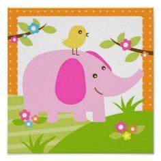 Elephant Jungle Animal Nursery Wall Art Print Created By Littleseirastudio