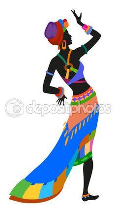 Mujer africana bailando danza ritual — Vector de stock #113982858