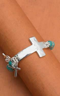 Silver Hammered Side Cross and Turquoise Bracelet