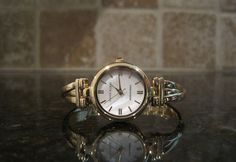 Anne Klein~AK/1170MPGB~Ladies Watch~Gold Criss Cross Bangle Bracelet~MOP #AnneKlein #Dress