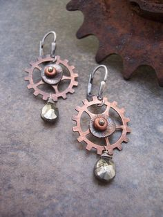 Steampunk Gears and Sprockets Earrings with Copper and Pyrite, Industrial Metalwork Jewelry