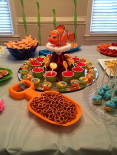 Finding Nemo themed birthday party shark fish ocean food