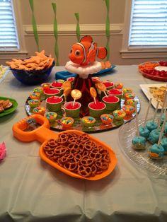 Finding Nemo themed birthday party shark fish ocean food