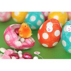 Holy cuteness!!!  Papier-Mache Easter Eggs