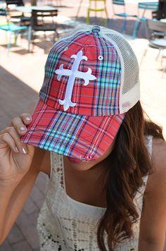 bbe8c2fb0d7 Plaid Cross Hat     28    plaid trucker hat