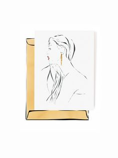 Earring by Studio Roux Greetings card with an illustration of a woman wearing a statement earring.Illustrated by Marlous Roelofs from Studio Roux.Paper: Wood free paper, 340 gsmSize: 105mm x 148mm (A6)Each greetings card comes with a recycled envelope and will be shipped in a cardboard envelope.