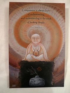 Thich Nhat Hanh Quote Zen Buddhist Sitting Buddha Compassion Understanding Look Deeply Smiling Prayer Decoupage Book Covers Art  Mediation on Etsy, $8.00